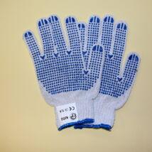 4355-ös fehér cérnakesztyű, kék pöttyös méret: 9