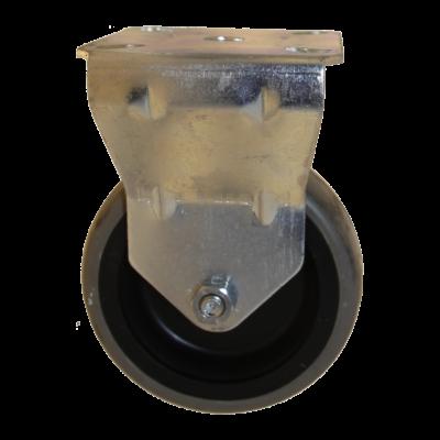 Tömör szürke gumis kerék hátfuratos forgó-fékes villával, 75-ös átmérőben