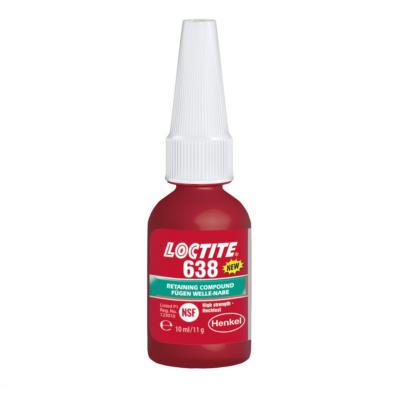 Loctite 638 10ml-es zöld színű, nagy szilárdságú, általános felhasználású rögzítő.