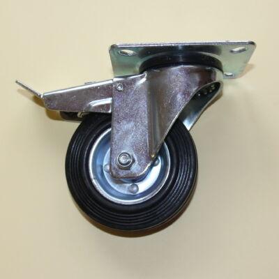 Tömörgumis kerék forgó-fékes villával 100-as átmérőben
