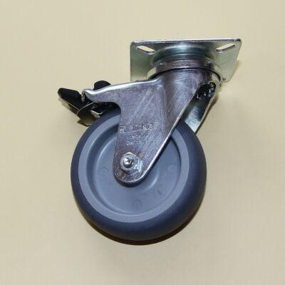 Tömör szürke gumis kerék forgó-fékes villával, 100-as átmérőben