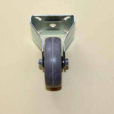 Tömör szürke gumis kerék fix villával, 75-ös átmérőben