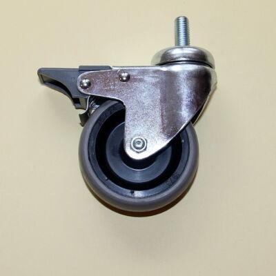 Tömör szürke gumis kerék menetes csapos forgó-fékes villával, 75-ös átmérőben