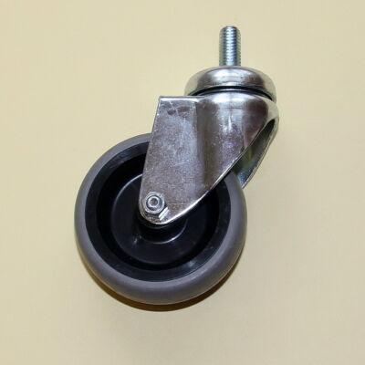Tömör szürke gumis kerék menetes csapos forgó villával, 100-as átmérőben