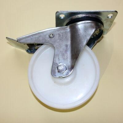 Poliamid kerék forgó-fékes villával 100-as átmérőben